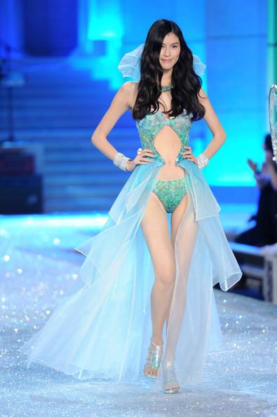 Model Sui He walks the runway during the 2011 Victoria's Secret Fashion Show at the Lexington Avenue Armory on November 9, 2011 in New York City.