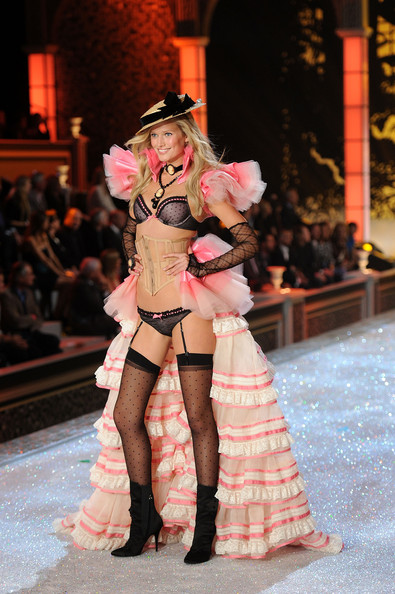 Model Toni Garrn walks the runway during the 2011 Victoria's Secret Fashion Show at the Lexington Avenue Armory on November 9, 2011 in New York City.