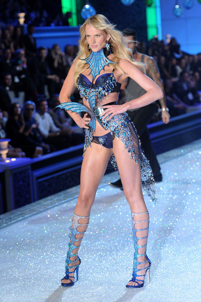 Model Anne Vyalitsina walks the runway during the 2011 Victoria's Secret Fashion Show at the Lexington Avenue Armory on November 9, 2011 in New York City.