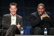 Executive producer Neal Kendall (L) and host/executive producer Tavis Smiley speak during the 'Tavis Smiley' panel at the PBS portion of the 2011 Winter TCA press tour held at the Langham Hotel on January 9, 2011 in Pasadena, California.