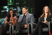 (L-R) Actors Christine Adams, Mido Hamada and Allison Miller speak onstage during the 'Terra Nova' panel at the FOX Broadcasting Company portion of the 2011 Winter TCA press tour held at the Langham Hotel  on January 11, 2011 in Pasadena, California.
