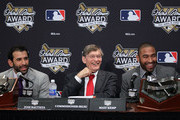 (L-R) Jose Bautista of the Toronto Blue Jays, MLB commissioner Bud Selig and Matt Kemp of the Los Angeles Dodgers speak during a press conference honoring Bautista and Kemp with the American and National League 2011 Hank Aaron Award prior to Game Five of the MLB World Series between the St. Louis Cardinals and the Texas Rangers at Rangers Ballpark in Arlington on October 24, 2011 in Arlington, Texas.