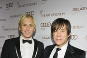 Fashion designer David Meister (L) and producer Alan Siegel arrive at the 2012 Art of Elysium Heaven Gala at Union Station on January 14, 2012 in Los Angeles, California.
