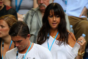 Footballer Harry Kewell and his wife Sheree Murphy arrive to watch Novak Djokovic of Serbia and Rafael Nadal of Spain in their men's finals match during day fourteen of the 2012 Australian Open at Melbourne Park on January 29, 2012 in Melbourne, Australia.