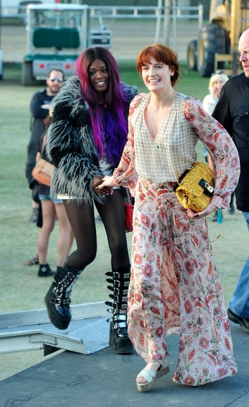 Singer Florence Welch (R) of the band Florence and the Machine attends during Day 3 of the 2012 Coachella Valley Music & Arts Festival held at the Empire Polo Club on April 15, 2012 in Indio, California.