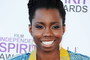 Actress Adepero Oduye arrives at the 2012 Film Independent Spirit Awards on February 25, 2012 in Santa Monica, California.