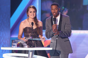 2012 HALO Award Honoree Allyson Ahlstrom (L) and TeenNick Chairman and HALO Awards host Nick Cannon speak onstage at Nickelodeon's 2012 TeenNick HALO Awards at Hollywood Palladium on November 17, 2012 in Hollywood, California. The show premieres on Monday, November 19th, 8:00p.m. (ET) on Nick at Nite.
