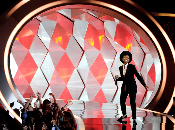 Singer Janelle Monae performs onstage during the 2012 MTV Movie Awards held at Gibson Amphitheatre on June 3, 2012 in Universal City, California.