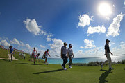 Bubba Watson, Keegan Bradley, and.Webb Simpson of the United States.walk up the  16th hole during the PGA Grand Slam of Golf at Port Royal Golf Course on October 23, 2012 in Southampton, Bermuda.