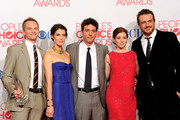 "(L-R) Neil Patrick Harris, Cobie Smulders, Josh Radnor, Alyson Hannigan and Jason Segel pose with Favorite Network TV Comedy Award for ""How I Met Your Mother"" in the press room during the 2012 People's Choice Awards at Nokia Theatre L.A. Live on January 11, 2012 in Los Angeles, California."