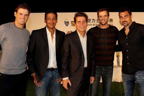 Bo Bryan of the United States, Mahesh Bupathi of India, ATP Executive Chairman & President Brad Drewett, Mike Bryan, Nenad Zimonjic of Serbia pose for photographers during a reception for the Shanghai Rolex Masters at the Hilton Hotel on October 8, 2012 in Shanghai, China.