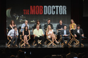 (TL-TR) Actors Wendy Makkena, Zeljko Ivanek, Jaime Lee Kirchner, James Carpinello and Jesse Lee Soffer and Executive Producer Carla Kettner (BL-BR) Actors Zach Gilford, Floriana Lima, William Forsythe, Jordana Spiro and Co-Creators/Executive Producers Josh Berman and Rob Wright speak onstage at 'The Mob Doctor' panel during day 3 of the FOX portion of the 2012 Summer TCA Tour held at the Beverly Hilton Hotel on July 23, 2012 in Beverly Hills, California.