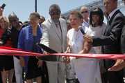 (L-R) LA Controller Wendy Greuel, Congresswoman Karen Bass (2nd fromL), City Councilmember Curren Price, Chairman and CEO of BET, Debra L. Lee, Compton Mayor Aja Brown, Chief Legal and Development Officer at AEG,  Ted Fikre, and LA Sentinel owner Danny Bakewell attend the Fan Fest Outdoor during the 2013 BET Experience at L.A. LIVE on June 28, 2013 in Los Angeles, California.