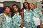 The McCrary, Ann McCrary, Deborah McCrary, Regina McCrary and Alfreda McCrary backstage during the 2013 New Orleans Jazz & Heritage Music Festival presented by Shell at Fair Grounds Race Course on April 26, 2013 in New Orleans, Louisiana.