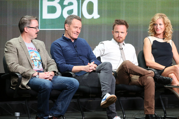 and actors Bryan Cranston, Aaron Paul, and Anna Gunn speak onstage ...