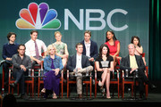 """(Back row: L-R) Actors Max Burkholder, Sam Jaeger, Erika Christensen, Dax Shepard, Joy Bryant, Mae Whitman (Front row: L-R) and Executive Producer Jason Katims, and actors Monica Potter, Peter Krause, Lauren Graham, and Craig T. Nelson speak onstage during the """"Parenthood"""" panel discussion at the NBC portion of the 2013 Summer Television Critics Association tour - Day 4 at the Beverly Hilton Hotel on July 27, 2013 in Beverly Hills, California."""