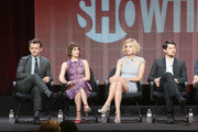 """(L-R) Actors Michael Sheen, Lizzy Caplan, Caitlin Fitzgerald and Nick D'Agosto speak onstage during the """"Masters of Sex"""" panel discussion at the CBS, Showtime and The CW portion of the 2013 Summer Television Critics Association tour at the Beverly Hilton Hotel on July 30, 2013 in Beverly Hills, California."""