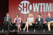 """(L-R) Actors Michael Sheen, Lizzy Caplan, Caitlin Fitzgerald, Nick D'Agosto and Teddy Sears speak onstage during the """"Masters of Sex"""" panel discussion at the CBS, Showtime and The CW portion of the 2013 Summer Television Critics Association tour at the Beverly Hilton Hotel on July 30, 2013 in Beverly Hills, California."""