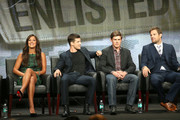"""(L-R) Actors Angelique Cabral, Parker Young, Chris Lowell, and Geoff Stults speak onstage during the """"Enlisted"""" panel discussion at the FOX portion of the 2013 Summer Television Critics Association tour - Day 9 at The Beverly Hilton Hotel  on August 1, 2013 in Beverly Hills, California."""
