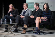 "(L-R) Creator, Director, Writer Ray McKinnon, Executive Producer Mark Johnson, actors Aden Young, and Abigail Spencer speak onstage at the ""Rectify"" panel discussion during the Sundance Channel portion of the 2013 Winter TCA Tour- Day 2 at Langham Hotel on January 5, 2013 in Pasadena, California."