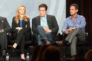 """(L-R) Actors Bonnie Somerville, Holt McCallany and Executive Producer Greg Berlanti of """"Golden Boy"""" listen onstage to questions from the audience during the CBS portion of the 2013 Winter TCA Tour at Langham Hotel on January 12, 2013 in Pasadena, California."""