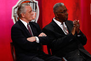 Hall of Fame coaches Pat Riley and John Thompson react to a speech by Alonzo Mourning during the 2014 Basketball Hall of Fame Enshrinement Ceremonyat Symphony Hall on August 8, 2014 in Springfield, Massachusetts.