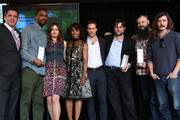Film Independent President Josh Welsh, director Shaka King, actresses Emily Mortimer, Angela Bassett, and Alessandro Nivola, director Jason Osder, and producers Toby Halbrooks and James M. Johnston attend the 2014 Film Independent Filmmaker Grant And Spirit Awards Nominees Brunch at BOA Steakhouse on January 11, 2014 in West Hollywood, California.
