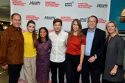 (L-R) Stuart Match Suna, Kaitlyn Dever, Iesha Reed, Tye Sheridan, Lola Kirke, Steven Gaydos and Anne Chaisson attend Variety's 10 Actors To Watch Brunch with Hilary Swank during the 2014 Hamptons International Film Festival on October 12, 2014 in East Hampton, New York.