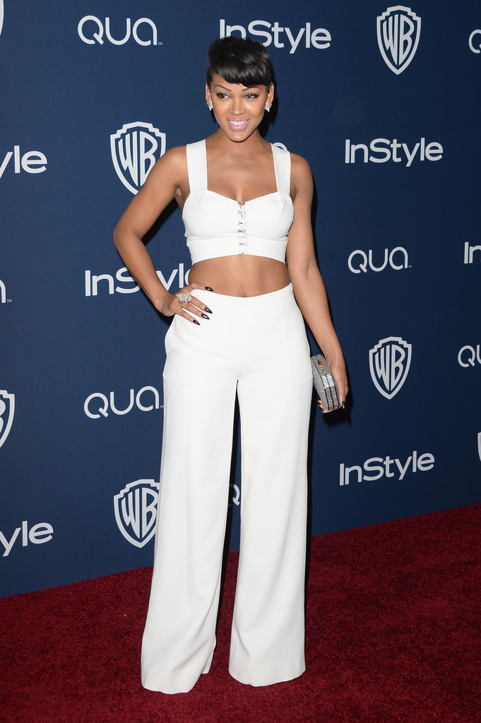 meagan good crop top all white 2014
