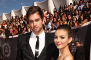 Pierson Fode (L) and actress Victoria Justice attend the 2014 MTV Video Music Awards at The Forum on August 24, 2014 in Inglewood, California.