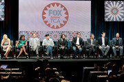 """Producers Elizabeth Meriwether, Mindy Kaling, Dan Goor, Michael Schur, Will Forte, Al Jean, Richard Appel, Steve Callaghan, and Loren Bouchard speak onstage at the """"Behind The Laughs"""" panel during the FOX Network portion of the 2014 Summer Television Critics Association at The Beverly Hilton Hotel on July 20, 2014 in Beverly Hills, California."""