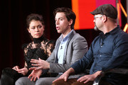 (L-R) Actors Tatiana Maslany and Jordan Gavaris and writer and co-creator Graeme Manson speak onstage during the 'Orphan Black ' panel discussion at the BBC America portion of the 2014  Winter Television Critics Association tour at the Langham Hotel on January 11, 2014 in Pasadena, California.
