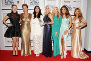 Members from Real Housewives Melbourne Jackie Gillies, Chyka Keebaugh, Lydia Schiavello, Janet Roach, Gamble Breaux, Gina Liano and Pettifleur Berenger pose with the award for Channel Achievement on behalf of Arena at the 2015 ASTRA Awards at the Star on March 12, 2015 in Sydney, Australia.