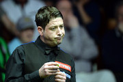 Matthew Stevens of Wales reacts during his match against Mark Williams of Wales during day five of the 2015 Betfred World Snooker Championship at Crucible Theatre on April 22, 2015 in Sheffield, England.