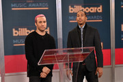 """Musician Peter Wentz (L) and actor/recording artist Ludacris at the """"2015 Billboard Music Awards"""" Finalists Live Announcement on """"Good Morning America"""" at ABC News' Good Morning America Times Square Studio on April 7, 2015 in New York City."""