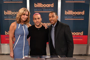 """(L-R) ABC's Good Morning America co-host Lara Spencer, musician Peter Wentz and actor/recording artist Ludacris at the """"2015 Billboard Music Awards"""" Finalists Live Announcement on """"Good Morning America"""" at ABC News' Good Morning America Times Square Studio on April 7, 2015 in New York City."""