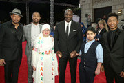 "Actors (L-R) Terrence Howard, Michael B Jordan, Adewale Akinnuoye-Agbaje and Jacob Latimore with Make-A-Wish Foundation children Sama and Obada, both 13, as they attend the ""Bilal"" premiere during day two of the 12th annual Dubai International Film Festival held at the Madinat Jumeriah Complex on December 10, 2015 in Dubai, United Arab Emirates."