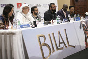 "(L-R) Translator Reem Owais, Artistic Director of DIFF Masoud Amralla Al Ali, directors Ayman Jamal, Khurram Alavi and actors Adewale Akinnuoye-Agbaje and Jacob Latimore attend the ""Bilal"" press conference during day two of the 12th annual Dubai International Film Festival held at the Madinat Jumeriah Complex on December 10, 2015 in Dubai, United Arab Emirates."