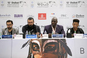"(L-R) Directors Ayman Jamal, Khurram Alavi and actors Adewale Akinnuoye-Agbaje and Jacob Latimore attend the ""Bilal"" press conference during day two of the 12th annual Dubai International Film Festival held at the Madinat Jumeriah Complex on December 10, 2015 in Dubai, United Arab Emirates."