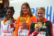 (L-R) Silver medallist Dina Asher-Smith of Great Britain & Northern Ireland, gold medallist Dafne Schippers of Netherlands and bronze medallist Verena Sailer of Germany pose on the podium during the medal ceremony for Women's 60 metres during day three of the 2015 European Athletics Indoor Championships at O2 Arena on March 8, 2015 in Prague, Czech Republic.