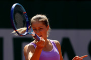 Bojana Jovanovski of Serbia returns a shot during her women's singles match against Donna Vekic of Croatia during day four of the 2015 French Open at Roland Garros on May 27, 2015 in Paris, France.