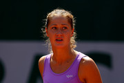 Bojana Jovanovski of Serbia celebrates a point during her women's singles match against Donna Vekic of Croatia during day four of the 2015 French Open at Roland Garros on May 27, 2015 in Paris, France.