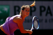 Bojana Jovanovski of Serbia serves during her women's singles match against Donna Vekic of Croatia during day four of the 2015 French Open at Roland Garros on May 27, 2015 in Paris, France.