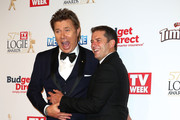 Richard Wilkins and Karl Stefanovic arrive at the 57th Annual Logie Awards at Crown Palladium on May 3, 2015 in Melbourne, Australia.