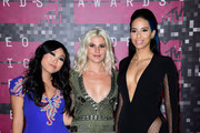 (L-R) TV personalities Awkwafina, Carly Aquilino and Nessa Diab attend the 2015 MTV Video Music Awards at Microsoft Theater on August 30, 2015 in Los Angeles, California.