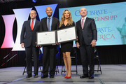 (L-R)  Director of the U.S. Citizenship and Immigration Services Leon Rodriguez, former Yankee Mariano Rivera, singer Thalia, and Deputy Secretary of Homeland Security Alejandro Mayorkas speak onstage during the Naturalization Ceremony at Festival PEOPLE En Espanol 2015 presented by Verizon at Jacob Javitz Center on October 18, 2015 in New York City.