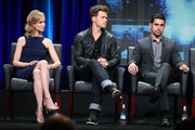 (L-R) Actors Laura Regan, Nick Zano and Wilmer Valderrama speak onstage during the 'Minority Report' panel discussion at the FOX portion of the 2015 Summer TCA Tour at The Beverly Hilton Hotel on August 6, 2015 in Beverly Hills, California.