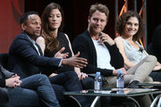 (L-R) Actors Hill Harper, Jennifer Carpenter, Jake McDorman and Mary Elizabeth Mastrantonio speak onstage during the 'Limitless' panel discussion at the CBS portion of the 2015 Summer TCA Tour at The Beverly Hilton Hotel on August 10, 2015 in Beverly Hills, California.