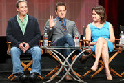 (L-R) Actors Beau Bridges, Josh Charles and creator/executive producer Michelle Ashford speak onstage during the 'Masters of Sex' panel discussion at the Showtime portion of the 2015 Summer TCA Tour at The Beverly Hilton Hotel on August 11, 2015 in Beverly Hills, California.