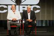 Executive producer Jim Ackerman (L) and TV personality Jay Leno (R) speak onstage during CNBC's 'Jay Leno's Garage' panel discussion at the NBCUniversal portion of the 2015 Summer TCA Tour at The Beverly Hilton Hotel on August 13, 2015 in Beverly Hills, California.